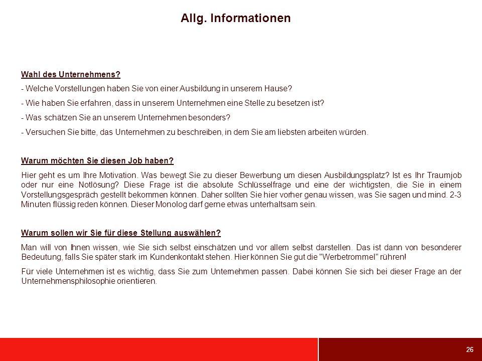 Allg. Informationen Wahl des Unternehmens
