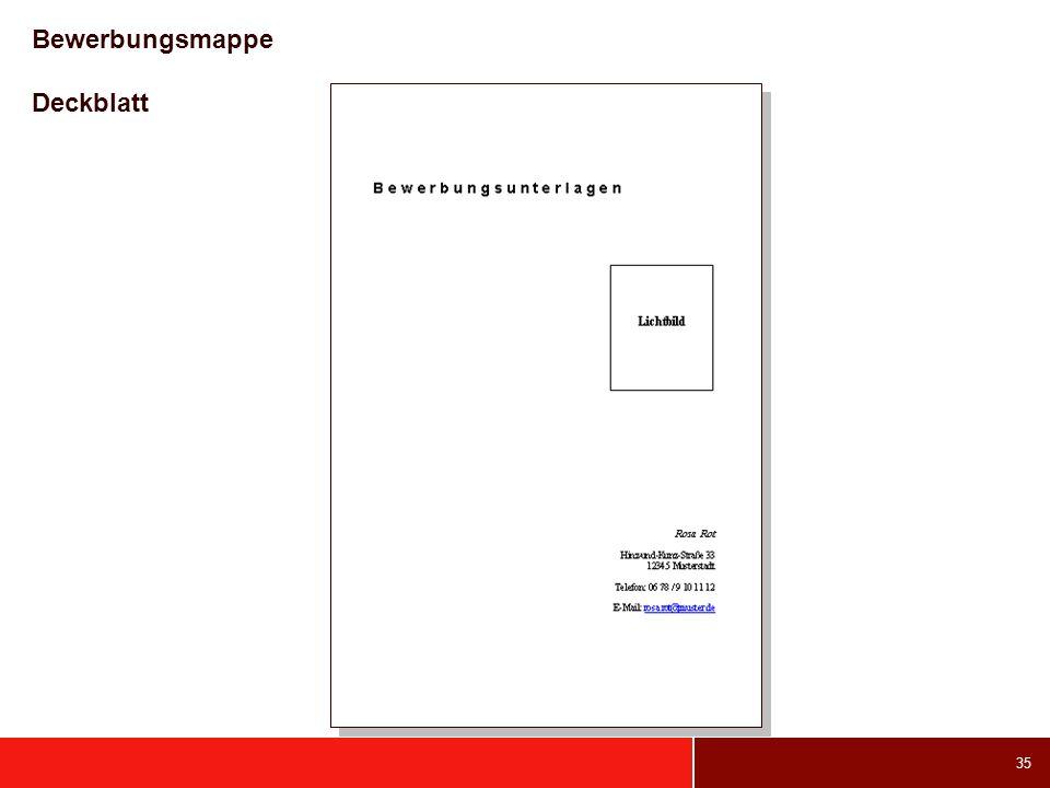Bewerbungsmappe Deckblatt
