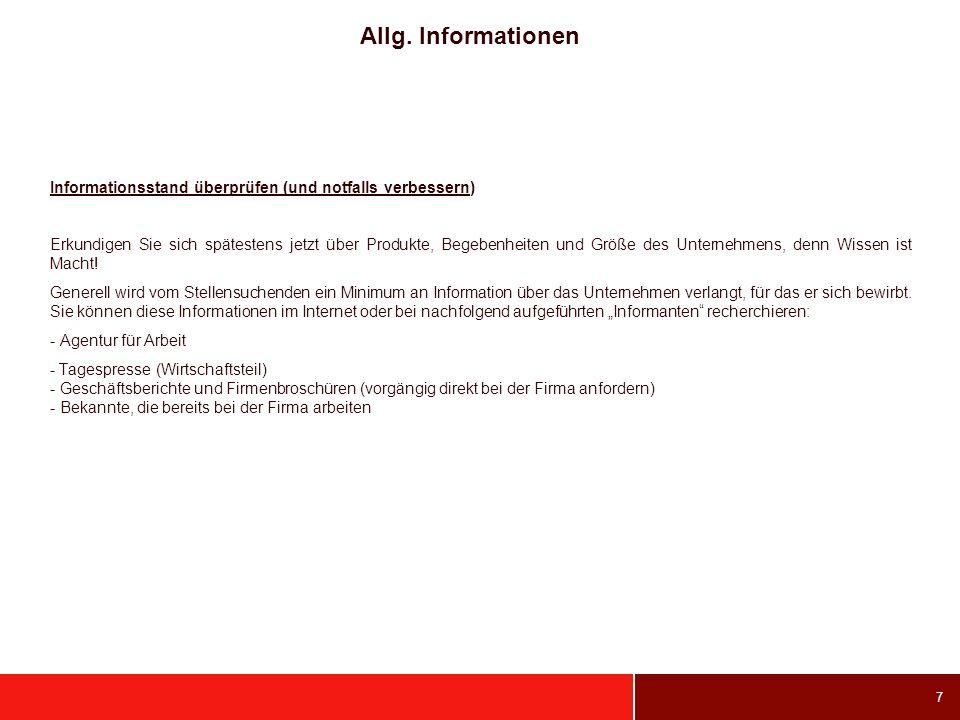 Allg. Informationen Informationsstand überprüfen (und notfalls verbessern)