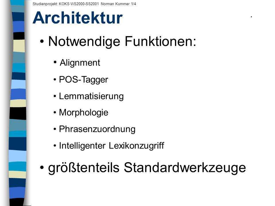Architektur Notwendige Funktionen: größtenteils Standardwerkzeuge