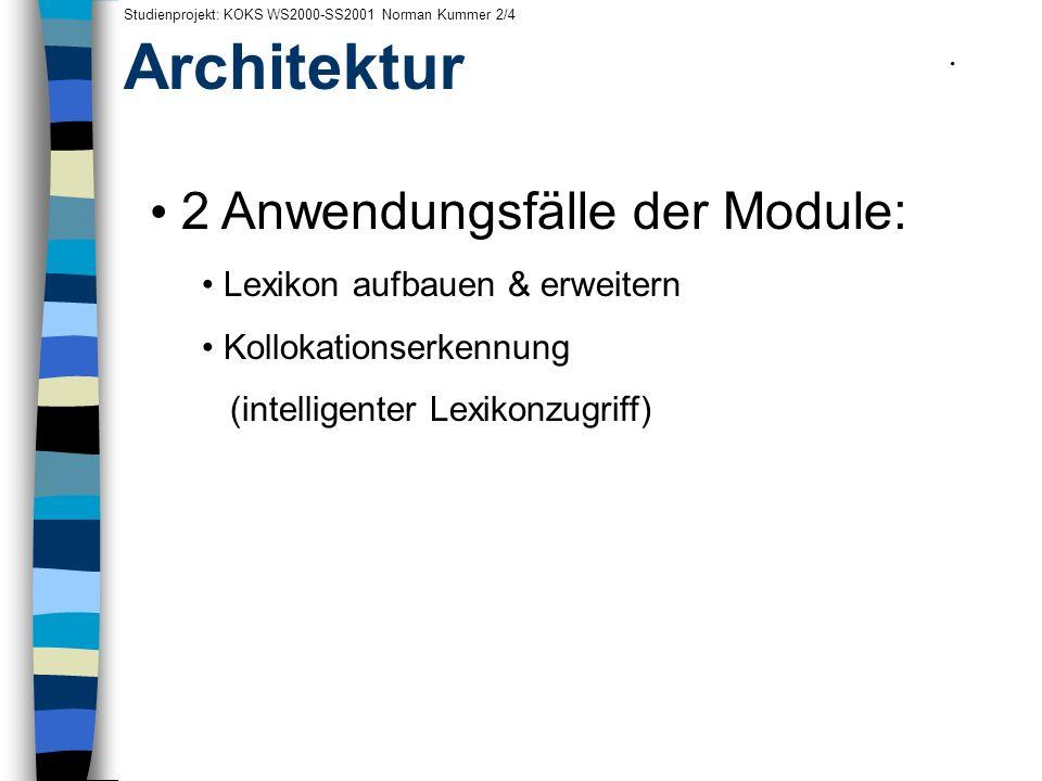 Architektur 2 Anwendungsfälle der Module: .