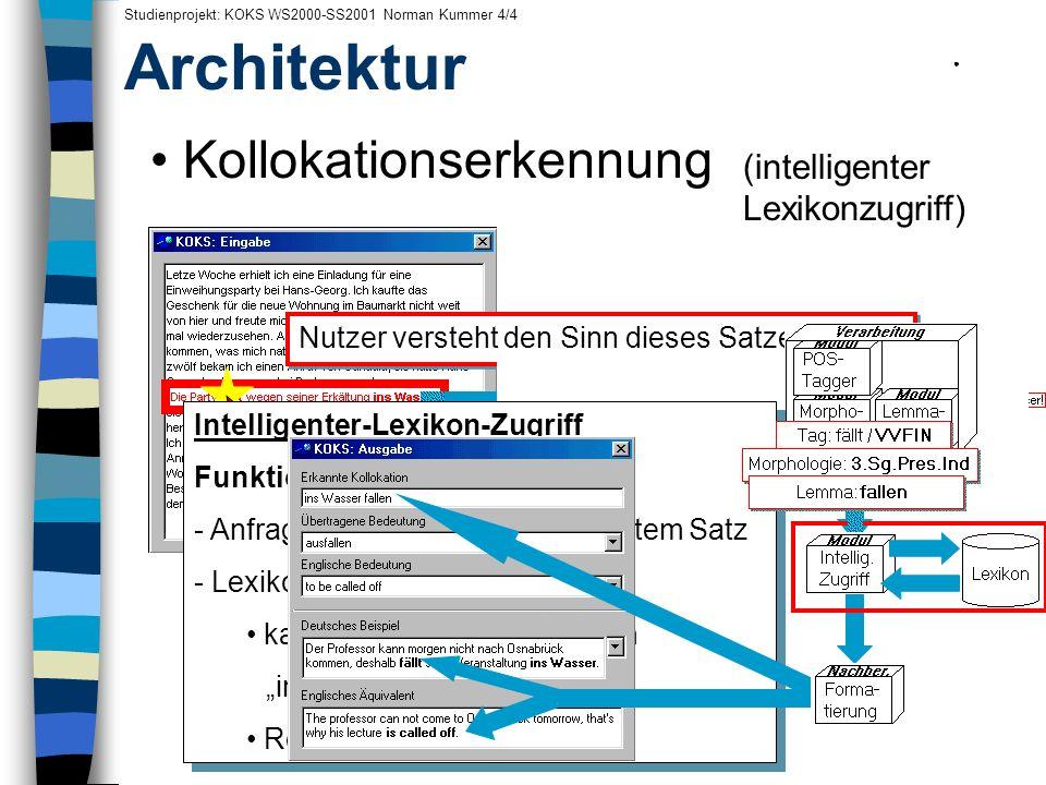 Architektur Kollokationserkennung . . . . . . . . . . .
