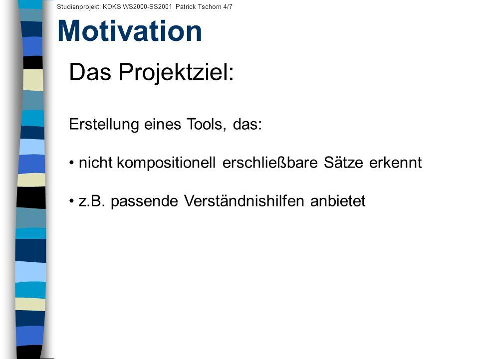 Motivation Das Projektziel: Erstellung eines Tools, das: