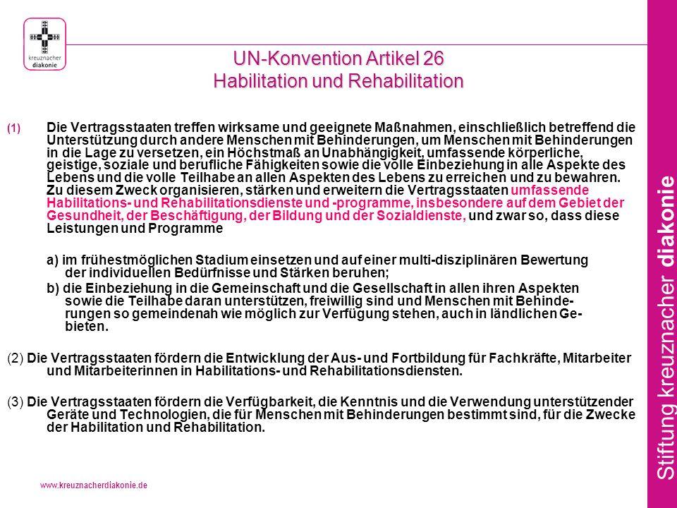 UN-Konvention Artikel 26 Habilitation und Rehabilitation