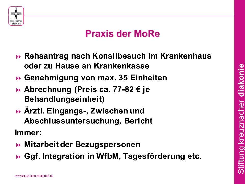 Praxis der MoRe Rehaantrag nach Konsilbesuch im Krankenhaus oder zu Hause an Krankenkasse. Genehmigung von max. 35 Einheiten.