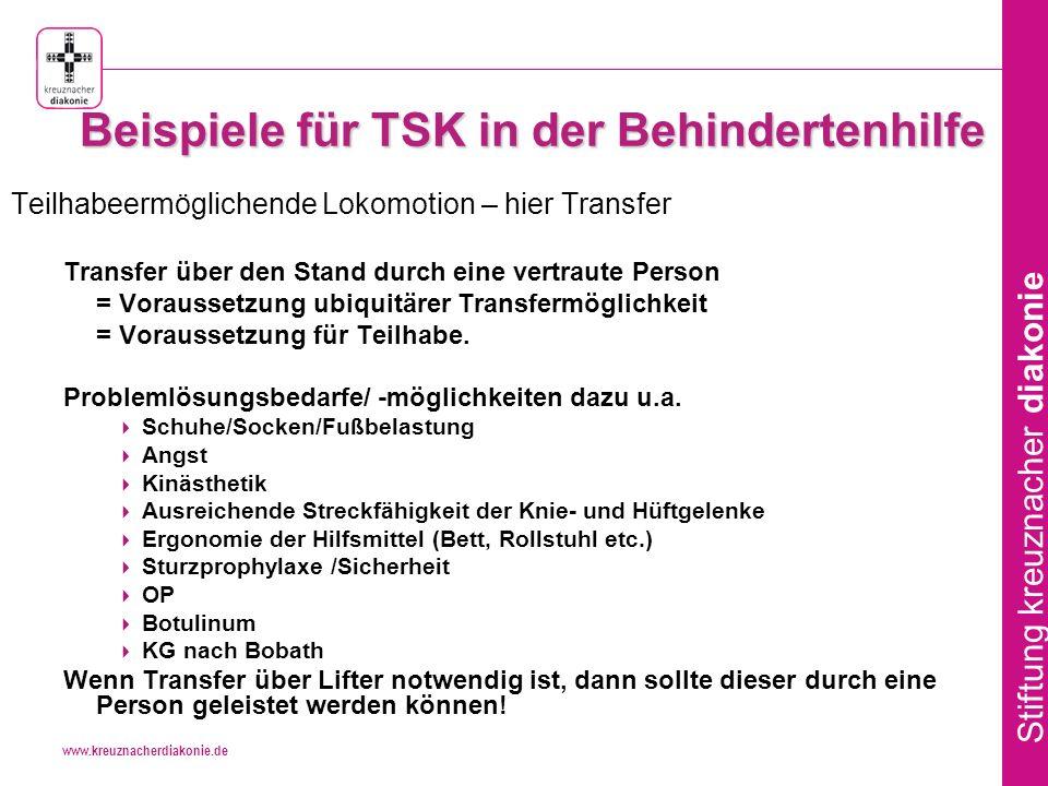 Beispiele für TSK in der Behindertenhilfe