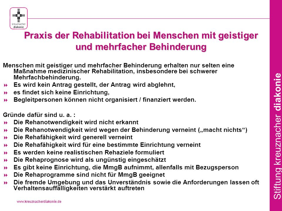 Praxis der Rehabilitation bei Menschen mit geistiger und mehrfacher Behinderung