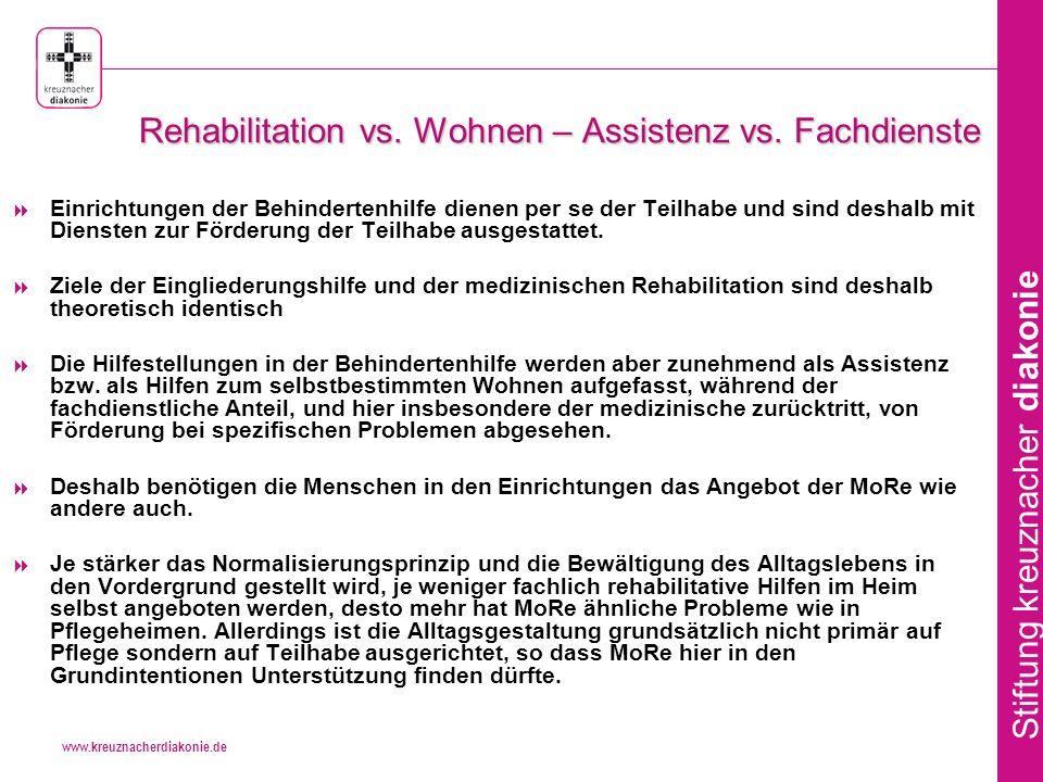 Rehabilitation vs. Wohnen – Assistenz vs. Fachdienste