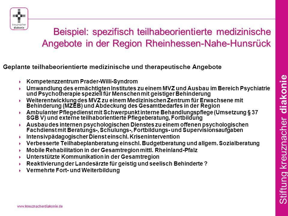 Beispiel: spezifisch teilhabeorientierte medizinische Angebote in der Region Rheinhessen-Nahe-Hunsrück