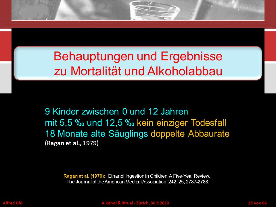 Behauptungen und Ergebnisse zu Mortalität und Alkoholabbau