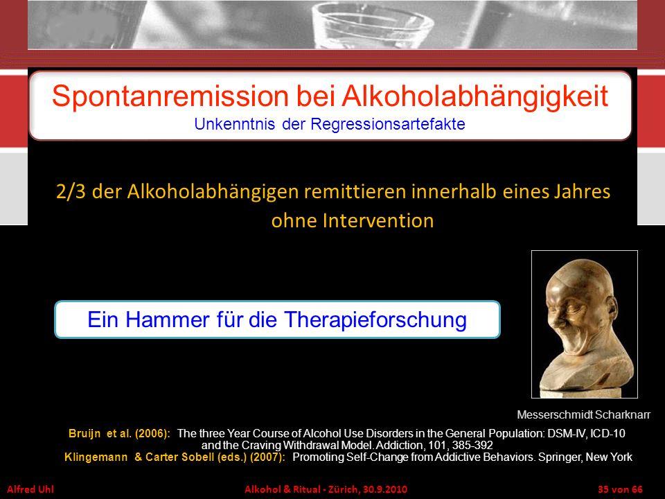 Spontanremission bei Alkoholabhängigkeit Unkenntnis der Regressionsartefakte