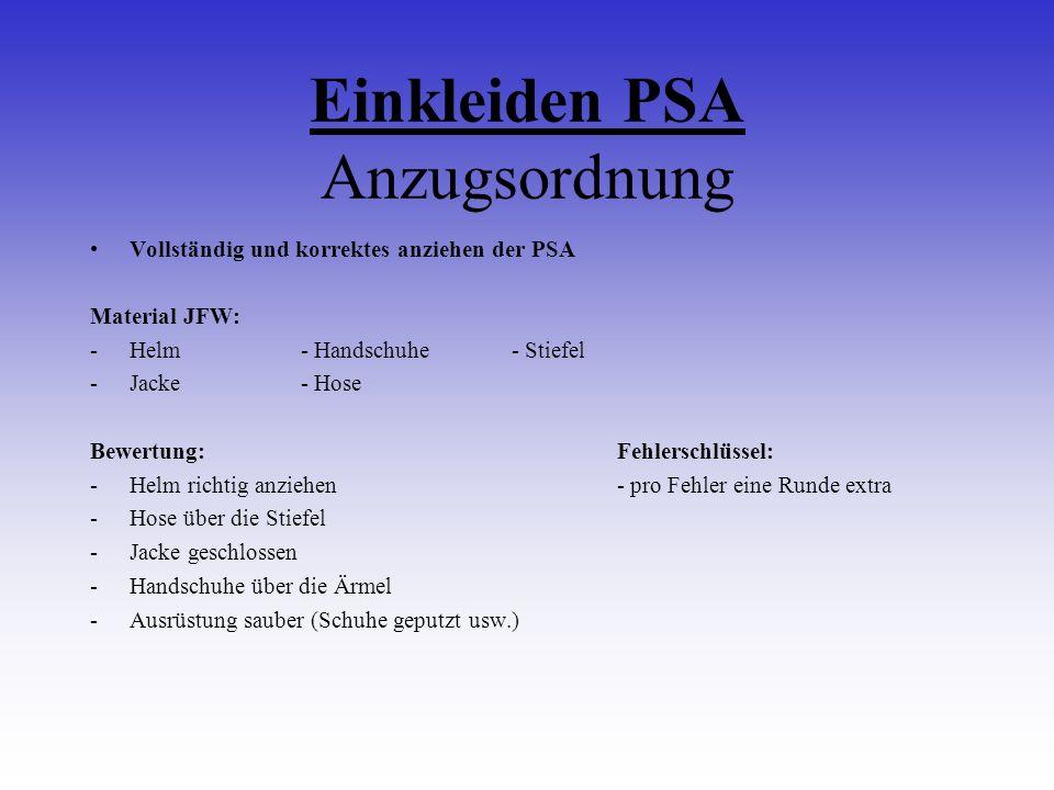 Einkleiden PSA Anzugsordnung