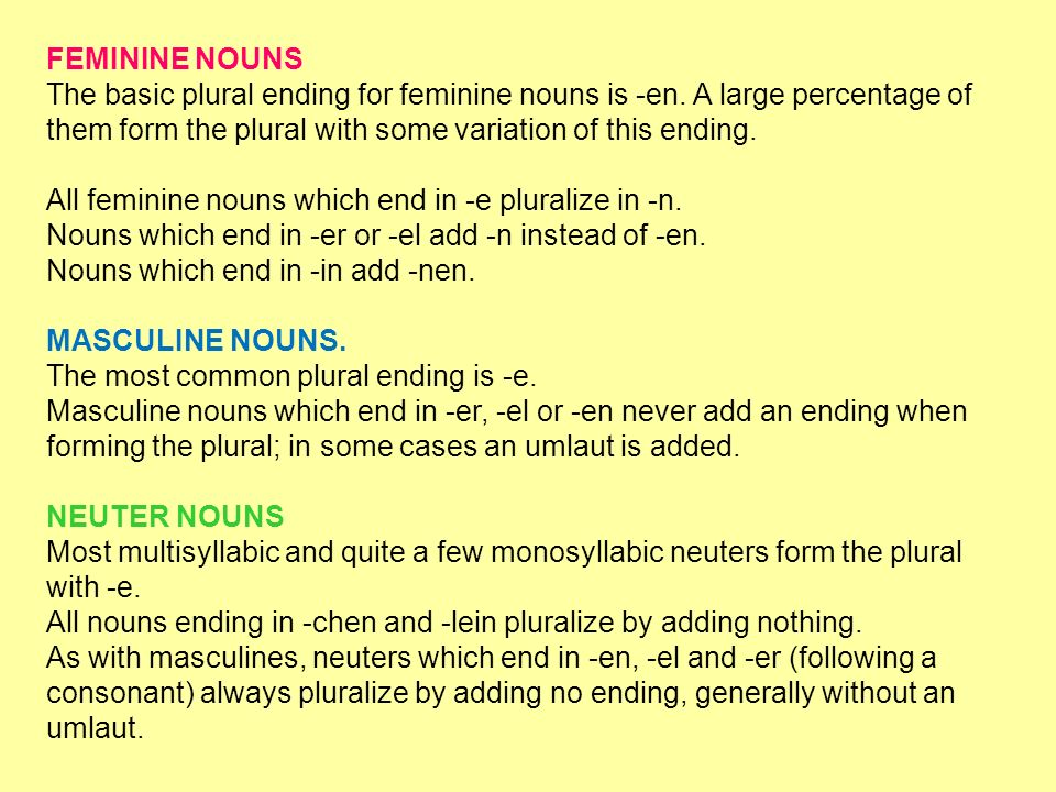 FEMININE NOUNSThe basic plural ending for feminine nouns is -en. A large percentage of them form the plural with some variation of this ending.