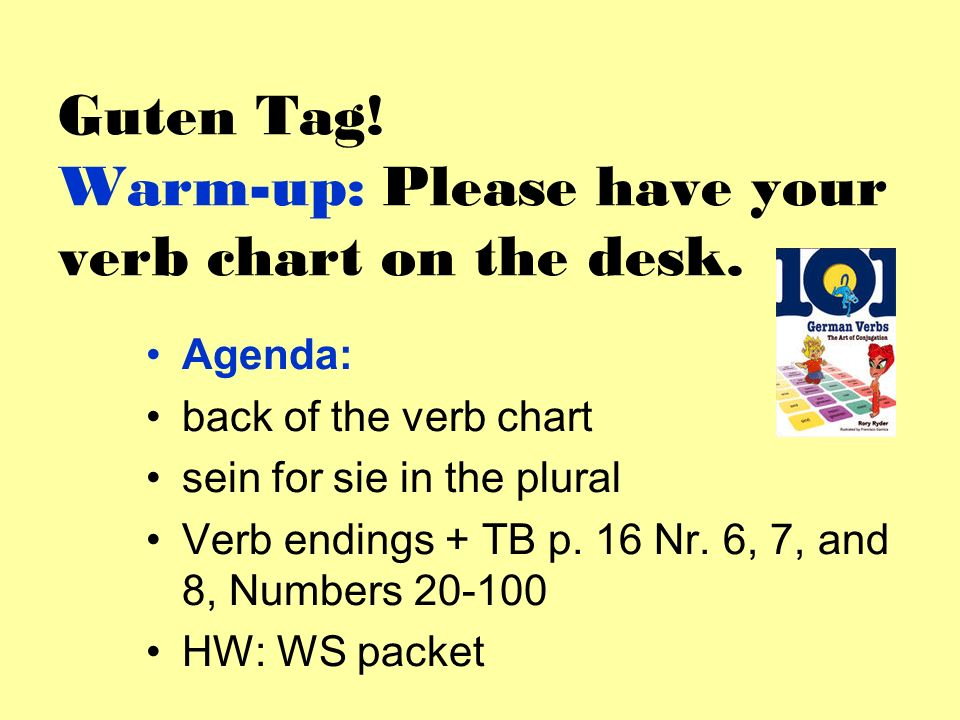 Guten Tag! Warm-up: Please have your verb chart on the desk.