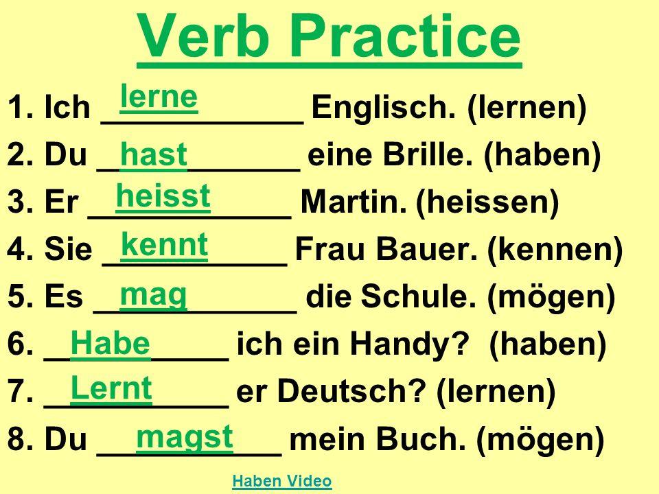Verb Practice lerne Ich ___________ Englisch. (lernen)