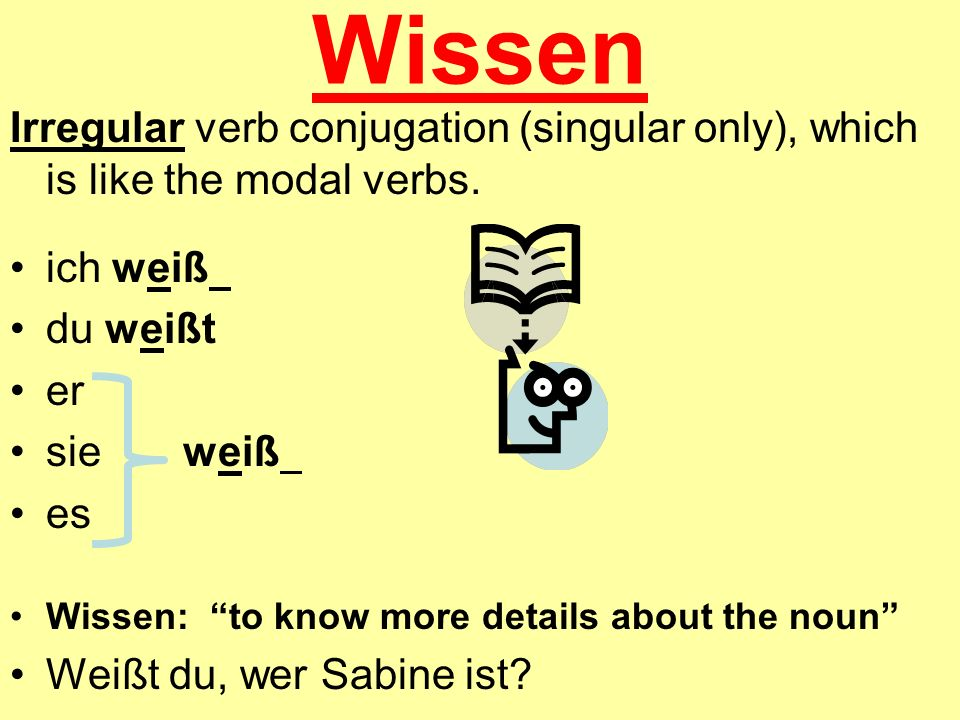 WissenIrregular verb conjugation (singular only), which is like the modal verbs. ich weiß. du weißt.
