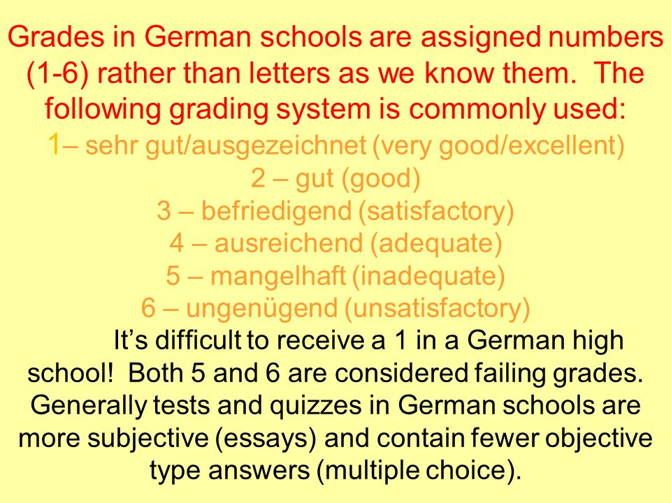 Grades in German schools are assigned numbers (1-6) rather than letters as we know them.