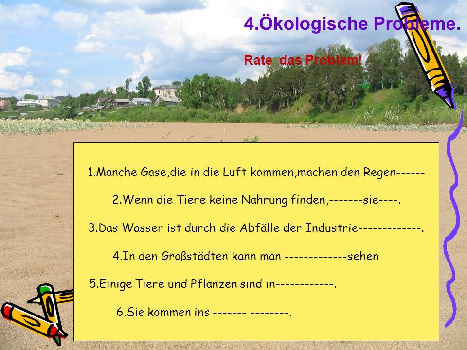 4.Ökologische Probleme. Rate das Problem!