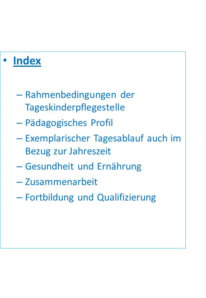 Index Rahmenbedingungen der Tageskinderpflegestelle