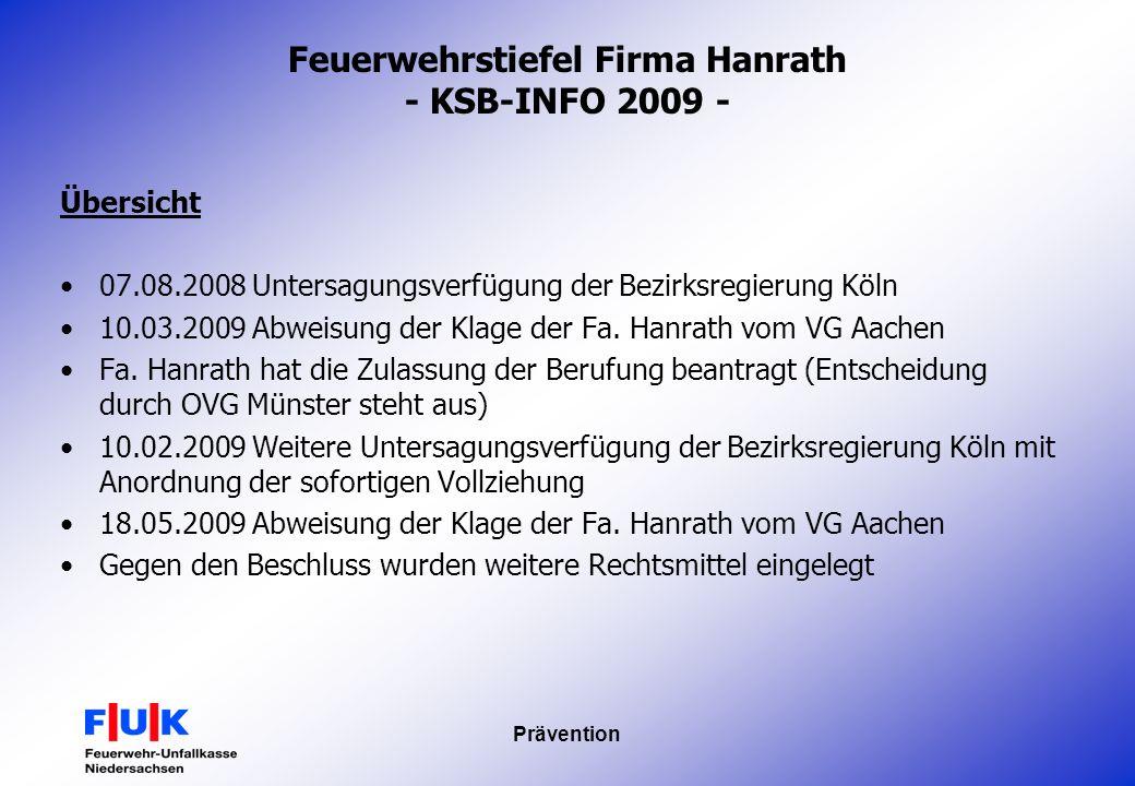 Feuerwehrstiefel Firma Hanrath - KSB-INFO 2009 -