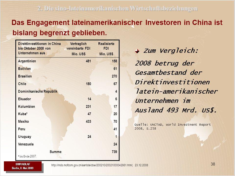 2. Die sino-lateinamerikanischen Wirtschaftsbeziehungen