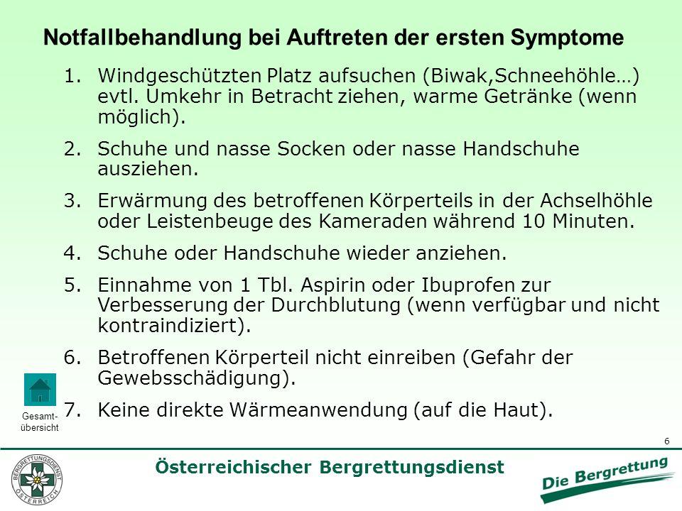 Notfallbehandlung bei Auftreten der ersten Symptome