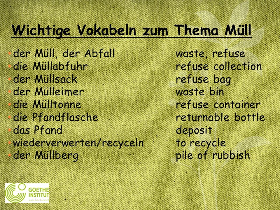 Wichtige Vokabeln zum Thema Müll