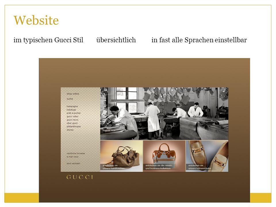 Website im typischen Gucci Stil übersichtlich in fast alle Sprachen einstellbar