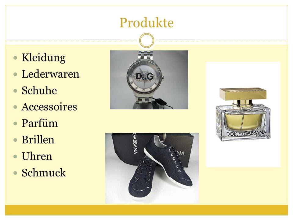 Produkte Kleidung Lederwaren Schuhe Accessoires Parfüm Brillen Uhren