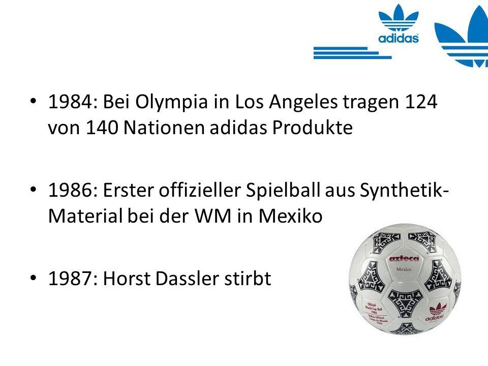 1984: Bei Olympia in Los Angeles tragen 124 von 140 Nationen adidas Produkte