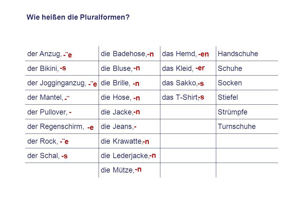 Wie heißen die Pluralformen
