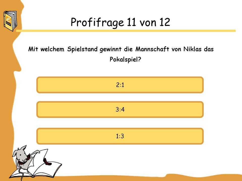 Profifrage 11 von 12 Mit welchem Spielstand gewinnt die Mannschaft von Niklas das Pokalspiel 2:1.