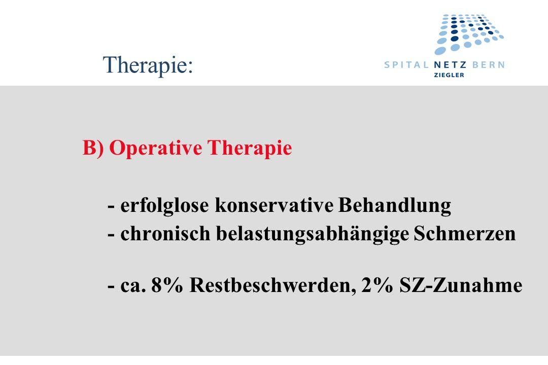 Therapie: B) Operative Therapie - erfolglose konservative Behandlung