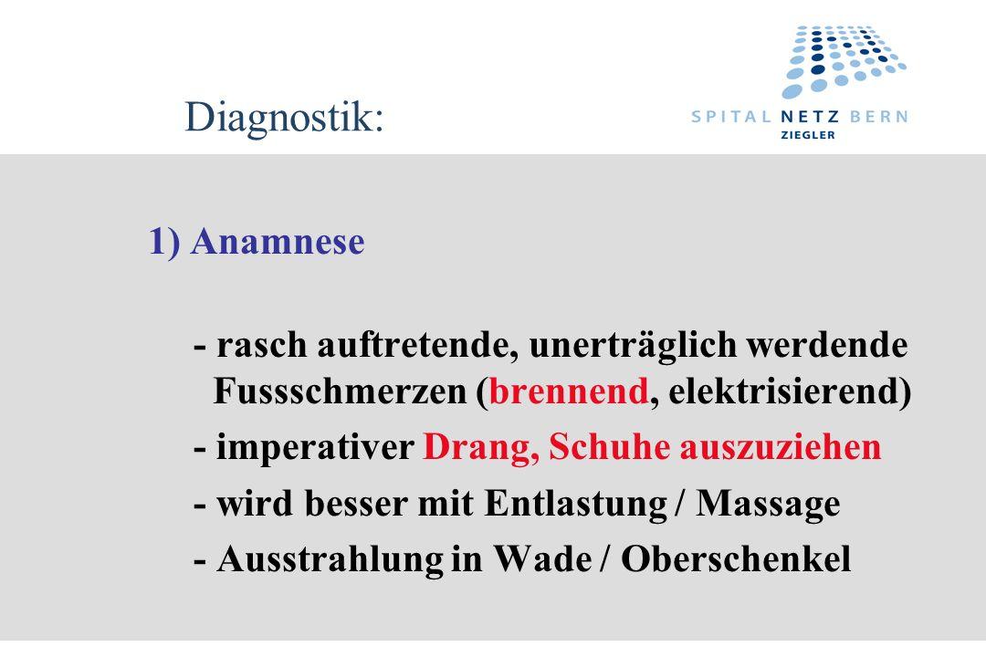 Diagnostik: 1) Anamnese