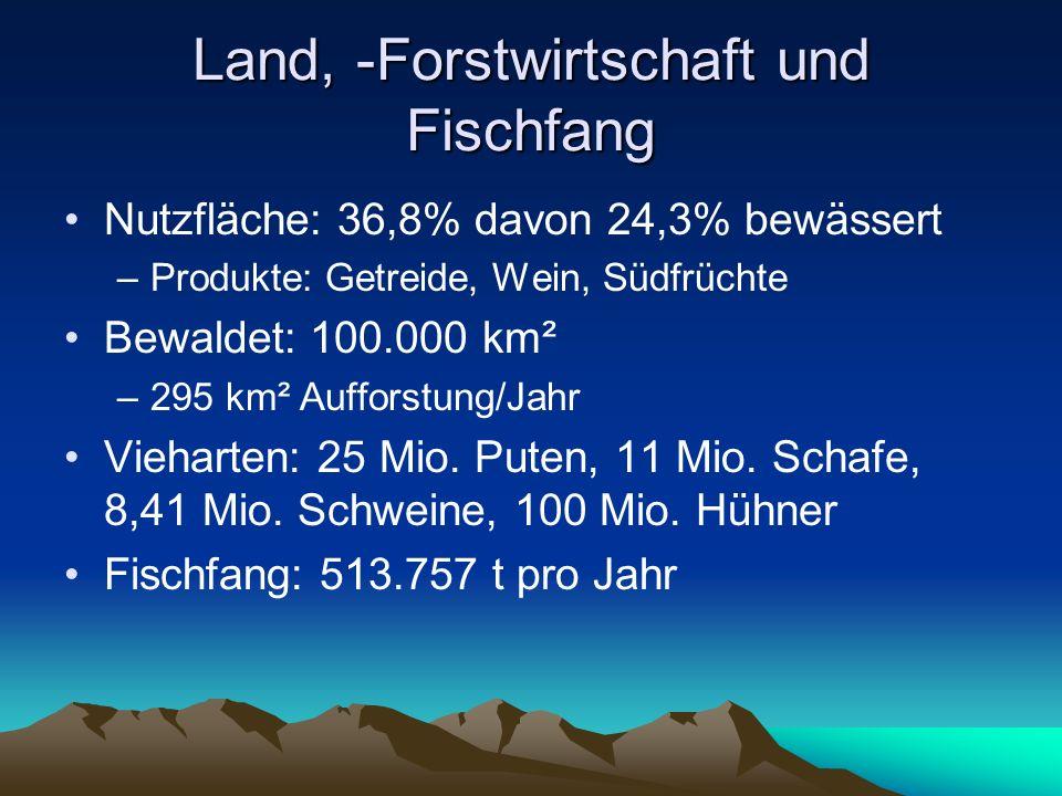 Land, -Forstwirtschaft und Fischfang