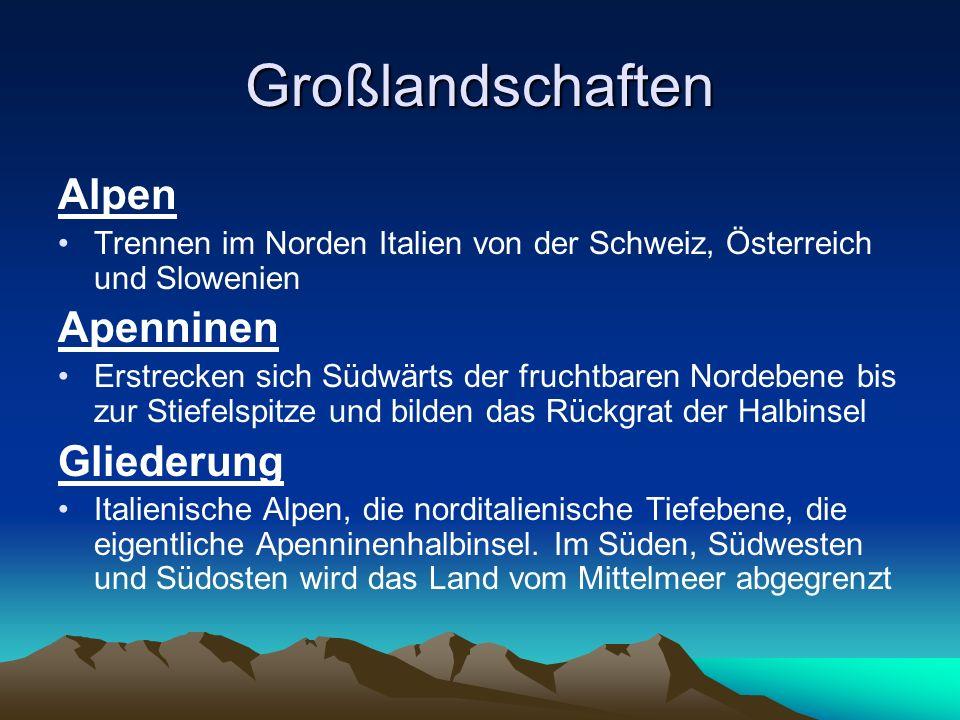 Großlandschaften Alpen Apenninen Gliederung