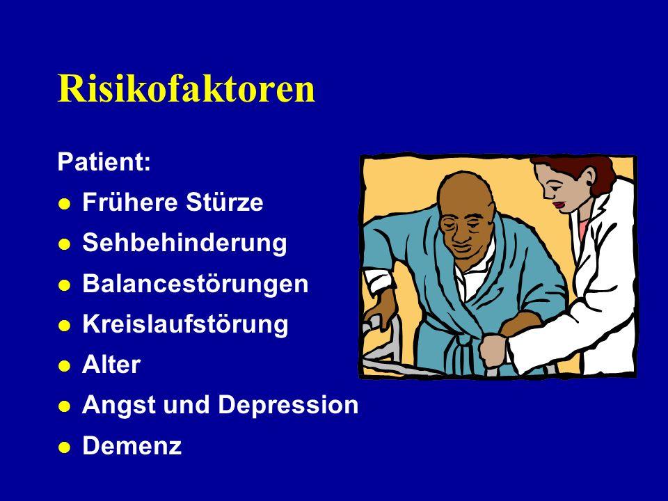 Risikofaktoren Patient: Frühere Stürze Sehbehinderung Balancestörungen
