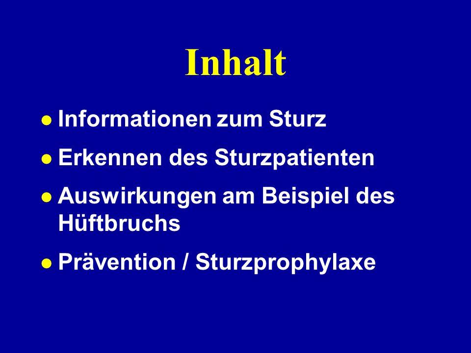 Inhalt Informationen zum Sturz Erkennen des Sturzpatienten