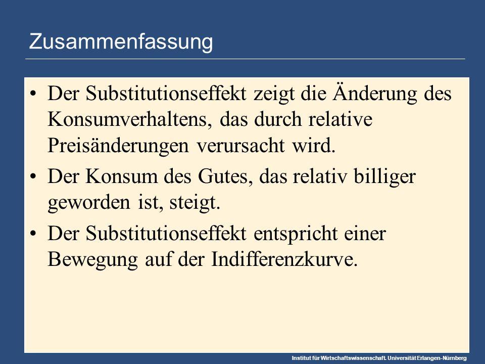 Zusammenfassung Der Substitutionseffekt zeigt die Änderung des Konsumverhaltens, das durch relative Preisänderungen verursacht wird.
