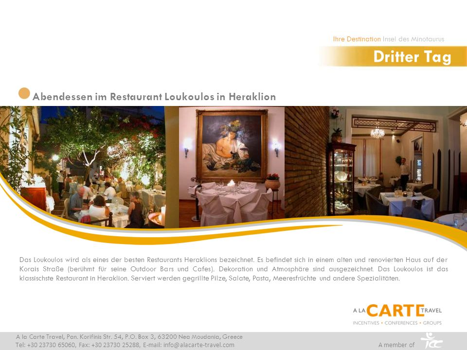 Dritter Tag Abendessen im Restaurant Loukoulos in Heraklion