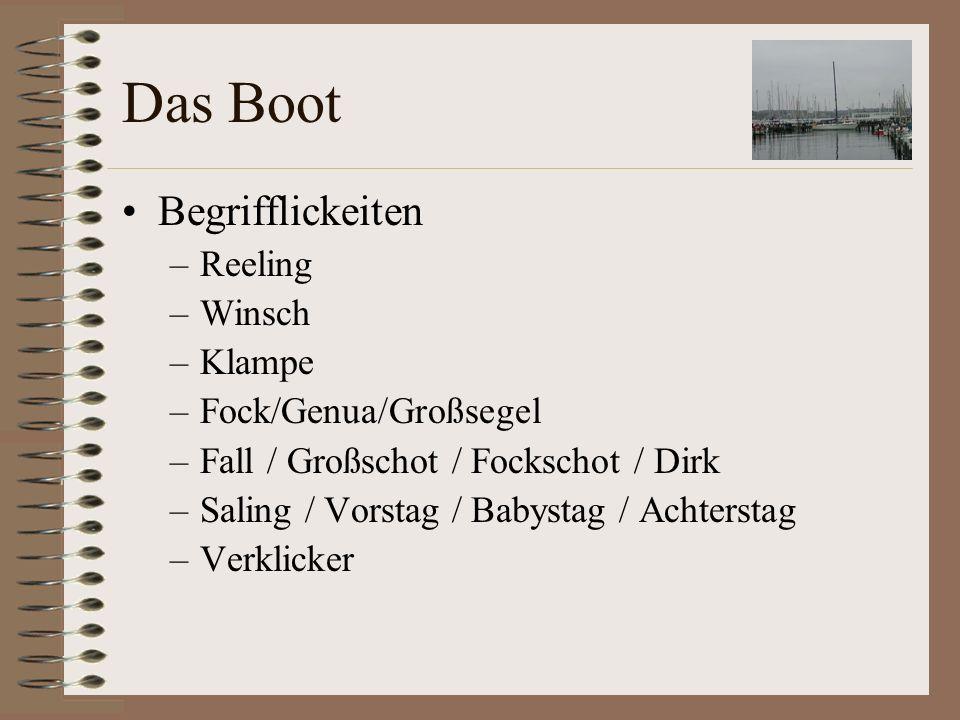 Das Boot Begrifflickeiten Reeling Winsch Klampe Fock/Genua/Großsegel