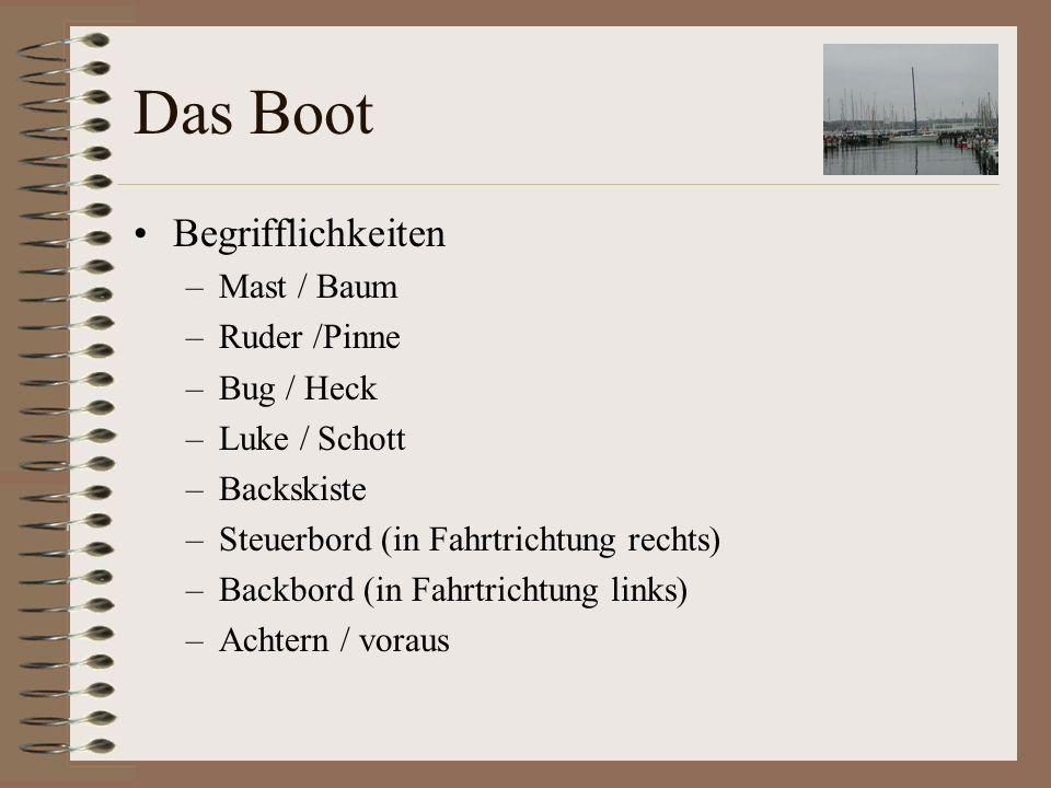Das Boot Begrifflichkeiten Mast / Baum Ruder /Pinne Bug / Heck