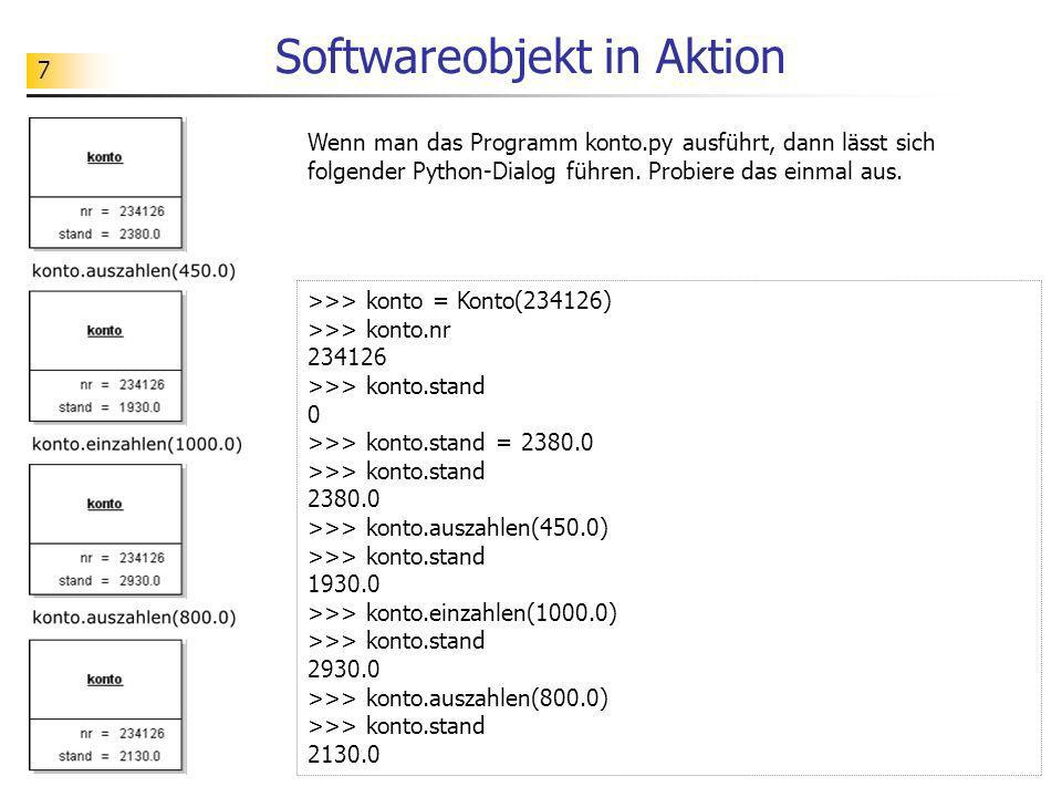 Softwareobjekt in Aktion