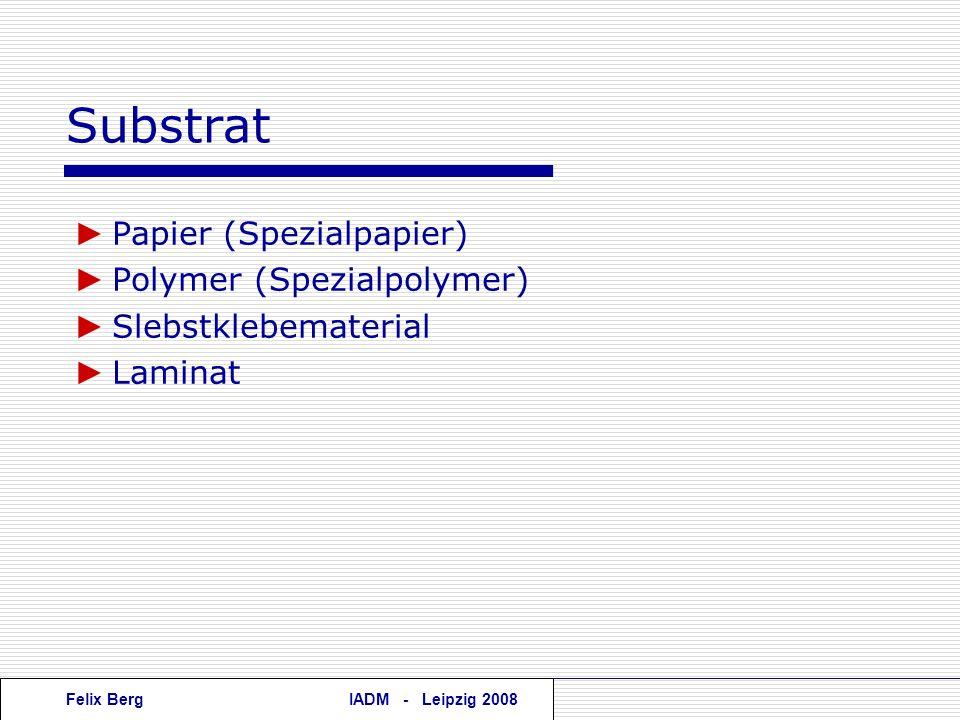 Substrat ► Papier (Spezialpapier) ► Polymer (Spezialpolymer)