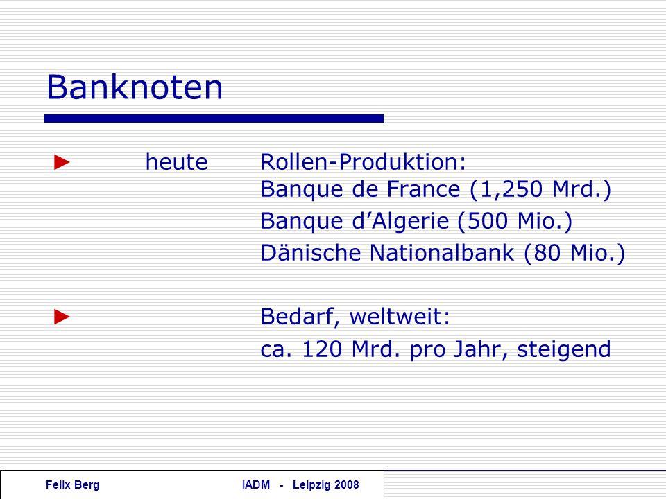 Banknoten ► heute Rollen-Produktion: Banque de France (1,250 Mrd.)