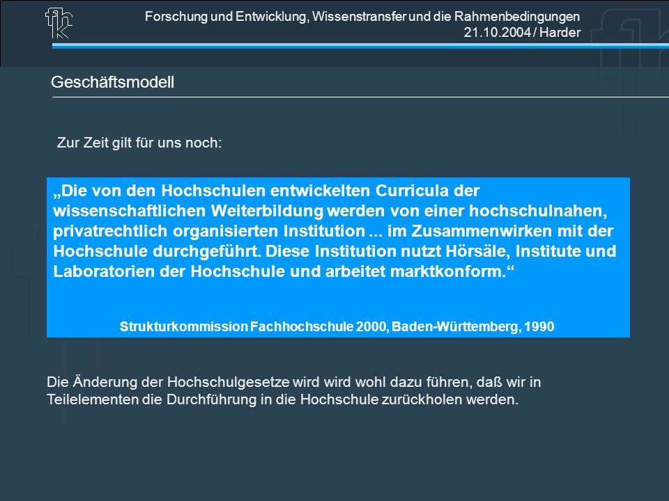 Forschung und Entwicklung, Wissenstransfer und die Rahmenbedingungen 21.10.2004 / Harder