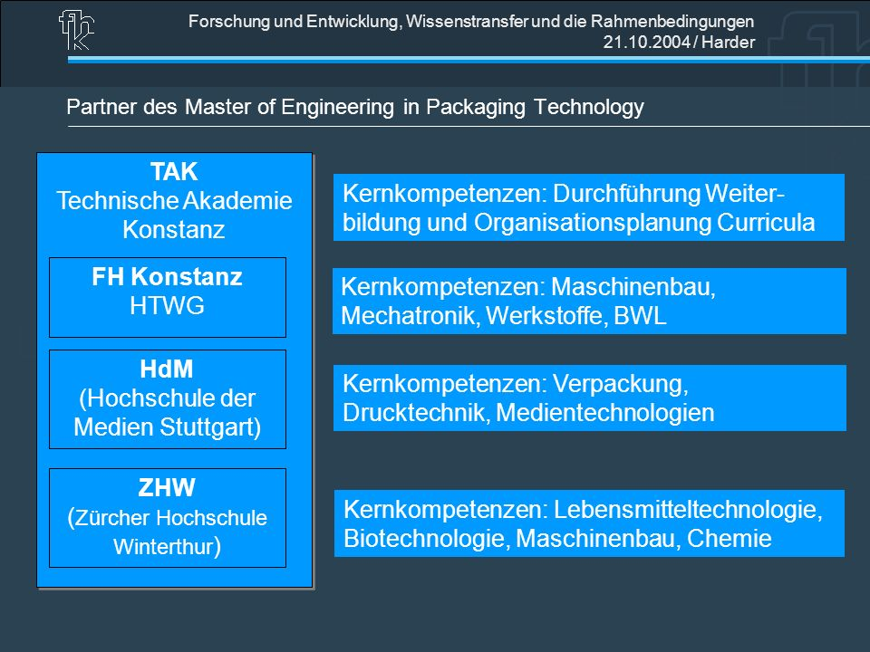 Partner des Master of Engineering in Packaging Technology