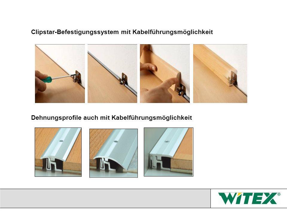 Clipstar-Befestigungssystem mit Kabelführungsmöglichkeit