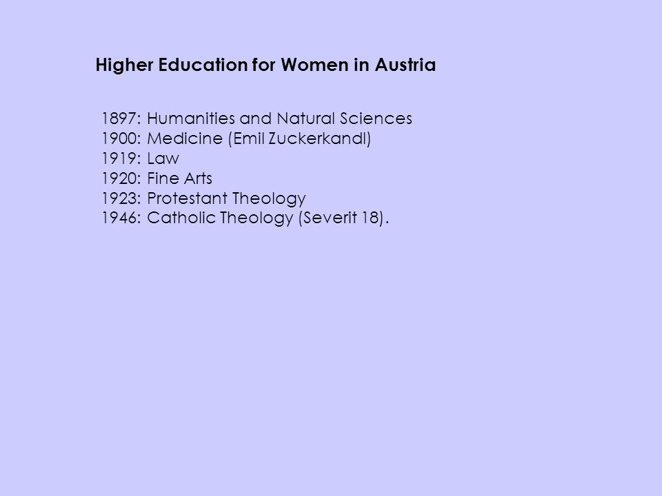 Higher Education for Women in Austria