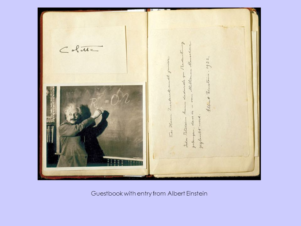 Guestbook with entry from Albert Einstein